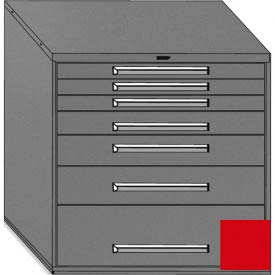 """Equipto 45""""Wx44""""H Modular Cabinet 7 Drawers No Divider, No Lock-Textured Cherry Red"""