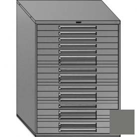 """Equipto 45""""W Modular Cabinet 18 Drawers w/Dividers, 59""""H, Keyed Alike Lock-Smooth Office Gray by"""