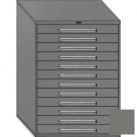 """Equipto 45""""W Modular Cabinet 12 Drawers w/Dividers, 59""""H, Keyed Alike Lock-Smooth Office Gray by"""