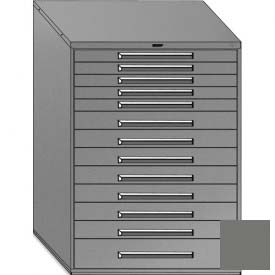 """Equipto 45""""W Modular Cabinet 13 Drawers w/Dividers, 59""""H, No Lock-Smooth Office Gray by"""