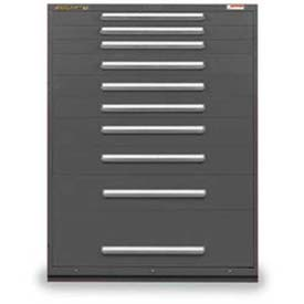 """Equipto 45""""W Modular Cabinet 10 Drawers w/Dividers, 59""""H, Keyed Alike Lock-Smooth Office Gray by"""