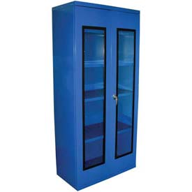 Equipto Quick View Cabinet 36 x 18 x 42, Unassembled - Textured Regal Blue
