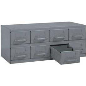 "Equipto Cabinet w/8 Drawers, 23""W x 12""D x 9-3/8""H, Textured Dove Gray"