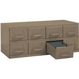 "Equipto Cabinet w/8 Drawers, 23""W x 12""D x 9-3/8""H, Textured Putty"