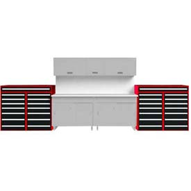 "EB Double Bank Tool Cabinet 60""W x 59""H, Red"