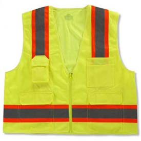 Ergodyne® GloWear® 8248Z Class 2 Two-Tone Surveyors Vest - Lime, 24073