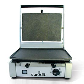 Click here to buy Eurodib/ Sirman Single Panini Grill Ribbed Top & Bottom 110 Volt.