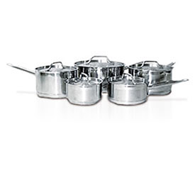 Homichef HOMSET10 Cookware Set, 10-Piece, 5 Pots And 5 Lids, Stainless Steel And Aluminum by