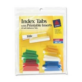 "Avery Self-Adhesive Index Tabs with Printable Inserts, 1"" Width, Assorted, 25 Tabs/Pack by"