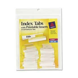 "Avery Self-Adhesive Index Tabs with Printable Inserts, 1"" Width, Clear, 25 Tabs/Pack by"