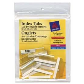"Avery Self-Adhesive Index Tabs with Printable Inserts, 1-1/2"" Width, Clear, 25 Tabs/Pack by"
