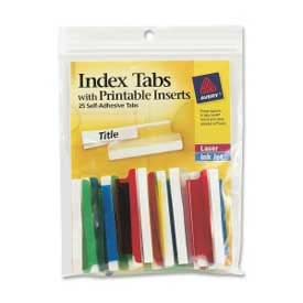 "Avery Self-Adhesive Index Tabs with Printable Inserts, 2"" Width, Assorted, 25 Tabs/Pack by"