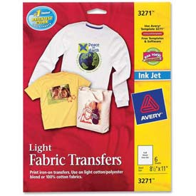 "Avery® Light T-Shirt Transfer, 8-1/2"" x 11"", Matte, White, 6 Sheets/Pack"
