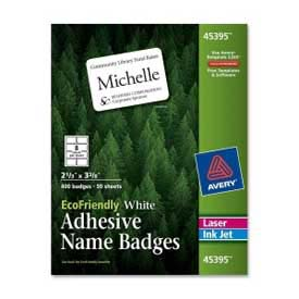 "Avery® EcoFriendly Adhesive Name Badges, 2-1/3"" x 3-3/8"", White, 400 Labels/Box"