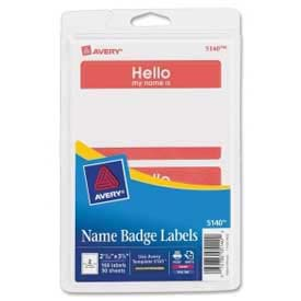 "Avery® ""Hello, my name is"" Name Badge Labels, 2-11/32"" x 3-3/8"", Red, 100 Labels/Pack"