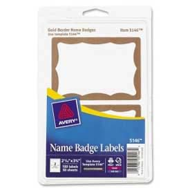 "Avery® Name Badge Labels, 2-11/32"" x 3-3/8"", Gold Border, 100 Labels/Pack"