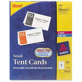 "Avery® Laser/Inkjet Tent Cards, 2"" x 3-1/2"", White, 160 Cards/Pack"