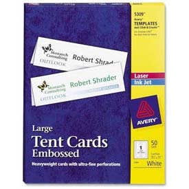 """Avery® Laser/Inkjet Tent Cards, 3-1/2"""" x 11"""", White, 50 Cards/Pack"""