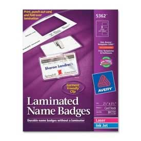 "Avery® Laminated Name Badge with Clips, 2-1/4"" x 3-1/2"", White, 30/Box"
