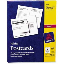 "Avery® Laser/Inkjet Post Card, 5-1/2"" x 4-1/4"", Matte, White, 200 Cards/Box"