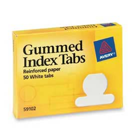 "Avery Gummed Index Tabs, 1/2"" Tab Extension, White, 50 Tabs/Pack by"