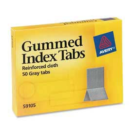 "Avery Gummed Index Tabs, 7/16"" x 1-3/16"", Gray, 50 Tabs/Pack by"