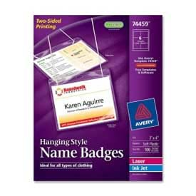 "Avery® Hanging Style Name Badges, 3"" x 4"", Clear, 100/Box"
