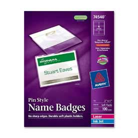 "Avery® Pin Style Name Badges, 3""x 4"", Clear, 100/Box"
