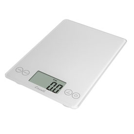 Escali 157W Arti Glass Kitchen Scale, 15lb x 0.1oz/7000g x 1g, White by