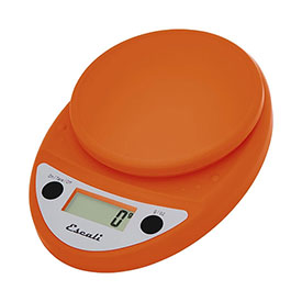 Escali P115PO Primo Digital Kitchen Scale, 11lb x 0.1oz/5000g x 1g, Orange by