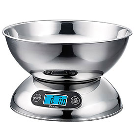 Escali R115 Rondo Digital Kitchen Scale, 11lb x 0.1lb/5000g x 1g, Stainless Steel by