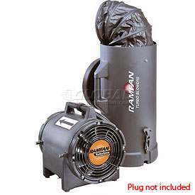"""Ramfan 8"""" UB20xx Intrinsically Safe Blower With Canister and 15' Duct  1/3 HP 980 CFM"""