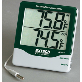 Extech 401014 Big Digit Indoor/Outdoor Thermometer, Green/Silver by
