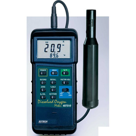 Extech 407510 Heavy Duty Dissolved Oxygen Meter W/PC Interface, Wide-Band Sensor by