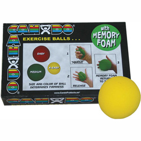 "Buy CanDo Memory Foam Squeeze Ball, 2.5"" Diameter, Yellow, X-Easy, Case of 12"