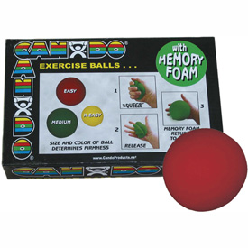 "Buy CanDo Memory Foam Squeeze Ball, 3"" Diameter, Red, Easy"