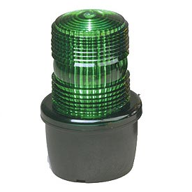 Federal Signal LP3M-012-048G Strobe light, male pipe mount, 12-48VDC, Green