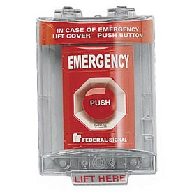 Push Station With Sounder And Cover, Emergency, Red