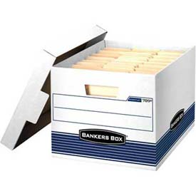 "Fellowes 00789 Stor/File™, Letter/Legal Box, 16-1/2""L x 12-3/4""W x 10-1/2""H, White/Blue - Pkg Qty 12"