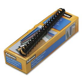 "Fellowes® Plastic Combs - Round Back, 1"", 200 Sheets, Black, 10/Pack - Pkg Qty 20"