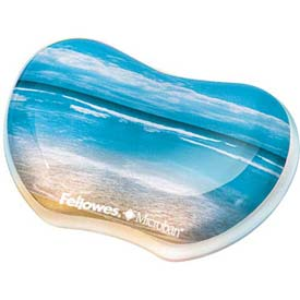 Fellowes® Photo Gel Utility Wrist Rest Microban® Protection, Sandy Beach Design - Pkg Qty 4
