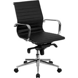 Conference Chair - Leather - Mid Back - Black