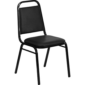 "Flash Furniture Banquet Stacking Chair - Vinyl - 1-1/2"" Seat Cushion - Black - Pkg Qty 4"
