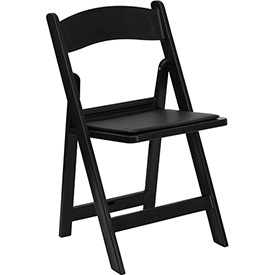 Flash Furniture Folding Chair with Vinyl Seat - Resin - Black - Pkg Qty 4