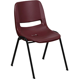 Flash Furniture Ergonomic Shell Stack Chair  - Plastic - Burgundy - Hercules Series - Pkg Qty 4