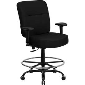 Flash Furniture Hercules Big & Tall Drafting Stool with Armrest - Fabric - Black