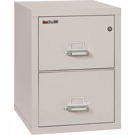 "Fireking Fireproof 2 Drawer Vertical File Cabinet - Letter Size 21""W x 25""D x 28""H - Light Gray"