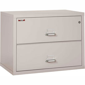 "Fireking Fireproof 2 Drawer Lateral File Cabinet Letter-Legal Size 37-1/2""W x 22""D x 28""H - Lt Gray"
