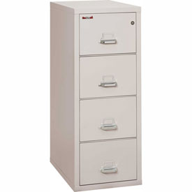 "Fireking Fireproof 4 Drawer Vertical File Cabinet - Letter Size 18""W x 31-1/2""D x 53""H - Light Gray"