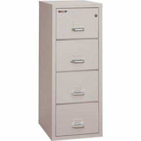 "Fireking Fireproof 4 Drawer Vertical File Cabinet - Legal Size 21""W x 25""D x 53""H - Light Gray"